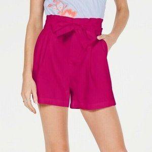 INC L Pink Pockets Paper Bag Shorts NWT AA57